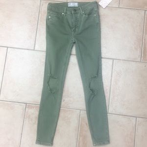 Olive Green Busted Knee Jeans by Free People